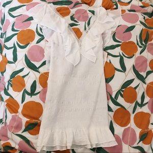Do + Be White Smocked Ruffle Dress